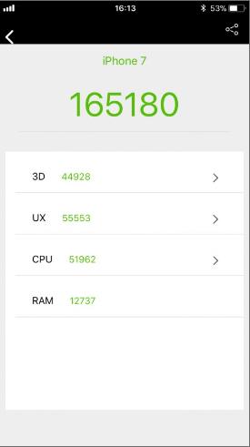 Điểm AnTuTu của iPhone 7 trên phiên bản iOS 11.1.2. Nguồn: GSMArena