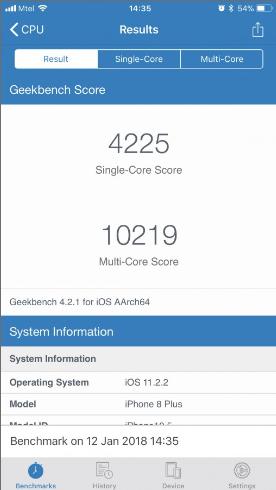Điểm AnTuTu của iPhone 8 trên phiên bản iOS 11.2.2. Nguồn: GSMArena