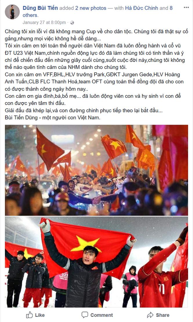 """Tuyển thủ U23 Việt Nam chia sẻ gì trên """"Phây"""" sau trận chung kết ảnh 5"""