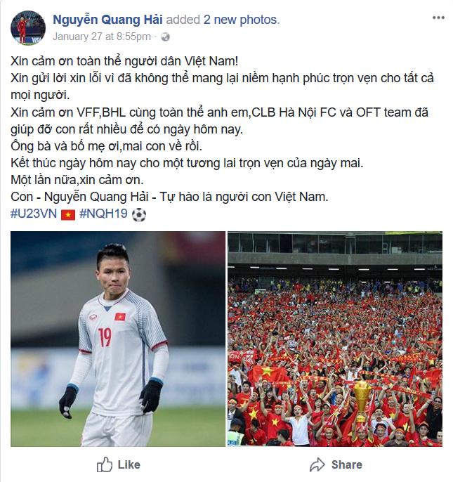 Quang Hải cũng gửi lời cảm ơn đến gia đình và người hâm mộ