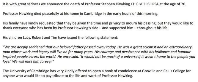 Thông báo về sự ra đi của giáo sư Stephen Hawkins được đại diện gia đình ông đăng tải. Nguồn: Twitter