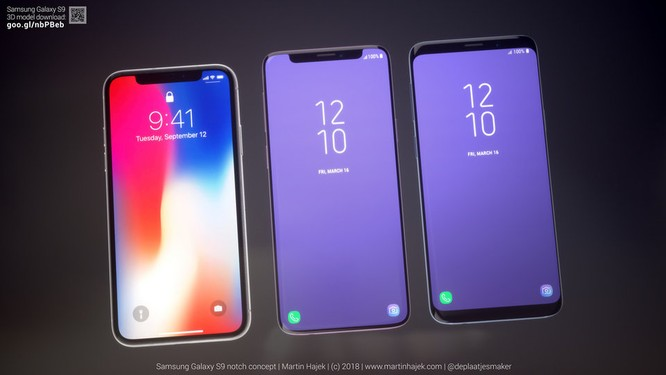 Phần mặt kính cong trên Galaxy S9 mang tới cảm giác màn hình rộng và viền nhỏ hơn so với iPhone X. Nguồn: Martin Hajek