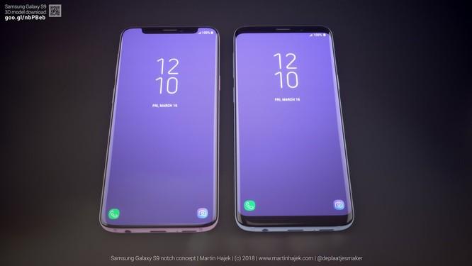 """Galaxy S9 thực tế (phải) và Galaxy S9 có """"tai thỏ"""" (trái. Nguồn: Martin Hajek"""
