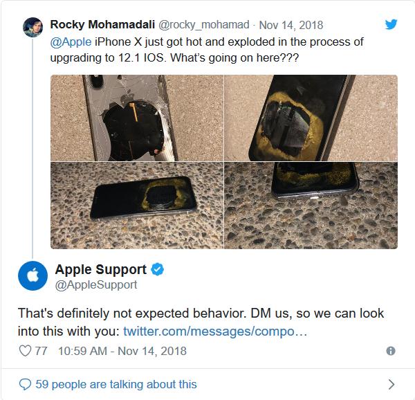 iPhone X bất ngờ phát nổ trong quá trình cập nhật iOS 12.1 ảnh 6