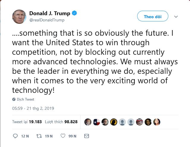 """Tổng thống Mỹ Donald Trump tuyên bố không muốn thắng cuộc đua 5G """"bằng cách ngăn chặn công nghệ hiện đại hơn"""" ảnh 1"""