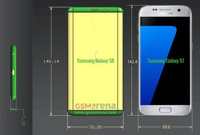 Rò rỉ kích thước chính xác Galaxy S8 and S8 Plus: Máy nhỏ gọn, màn hình lớn ảnh 1
