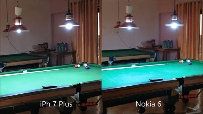 Chỉ khi chụp trong điều kiện thiếu sáng, Nokia 6 mới tỏ ra đuối sức so với iPhone 7 Plus, khi hình ảnh cho ra bị mờ và nhiễu.