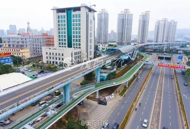 World's longest suspended bicycle lane completed in Xiamen