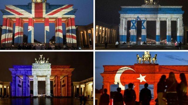Cổng Brandenburg được chiếu sáng tưởng niệm nạn nhân các vụ khủng bố