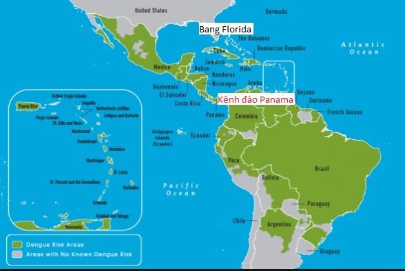Vị trí kênh đào Panama và bang Florida