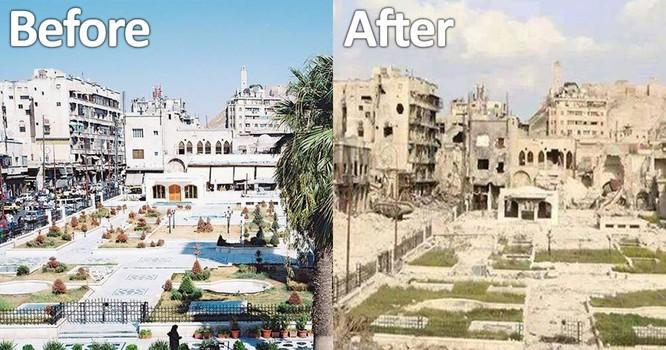 Hình ảnh đối lập trước và sau chiến tranh của Aleppo
