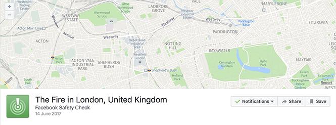 Facebook bật Safety Check sau cháy lớn ở London - ảnh 1