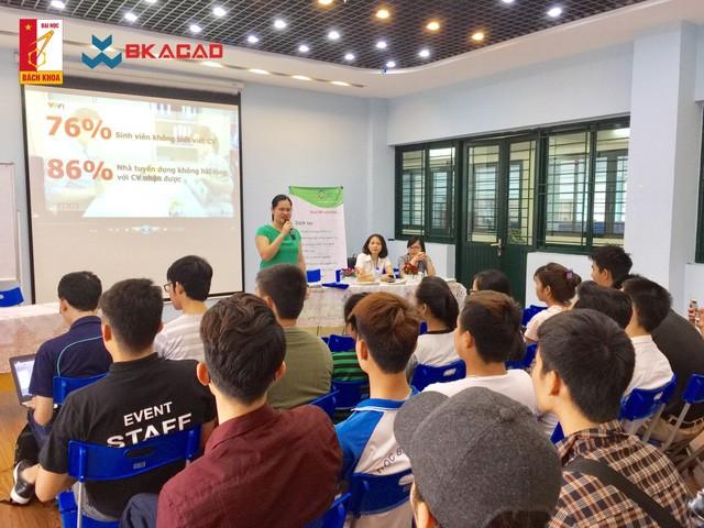 """Học viện CNTT Bách Khoa (BKACAD) tổ chức buổi đào tạo """"Tuyệt chiêu viết CV – Chinh phục nhà tuyển dụng"""" cho sinh viên với diễn giả là Giám đốc điều hành Grow People & Organizations"""