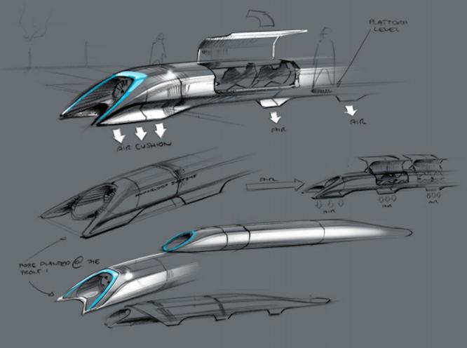 Phác thảo đầu tiên của Elon Musk về Hyperloop (năm 2013)