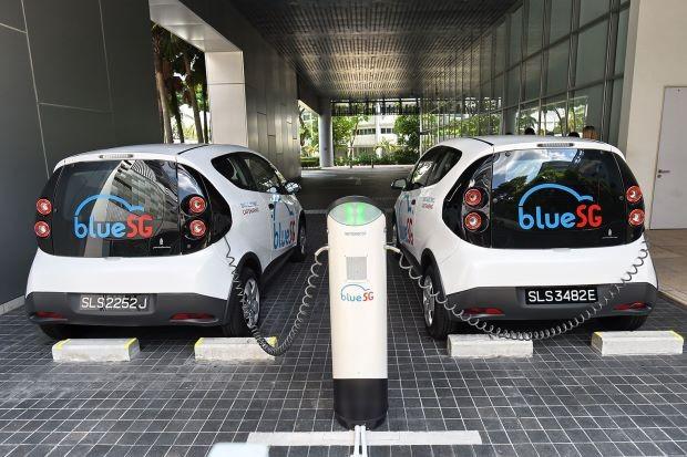 Một trạm sạc xe ô tô điện của BlueSG