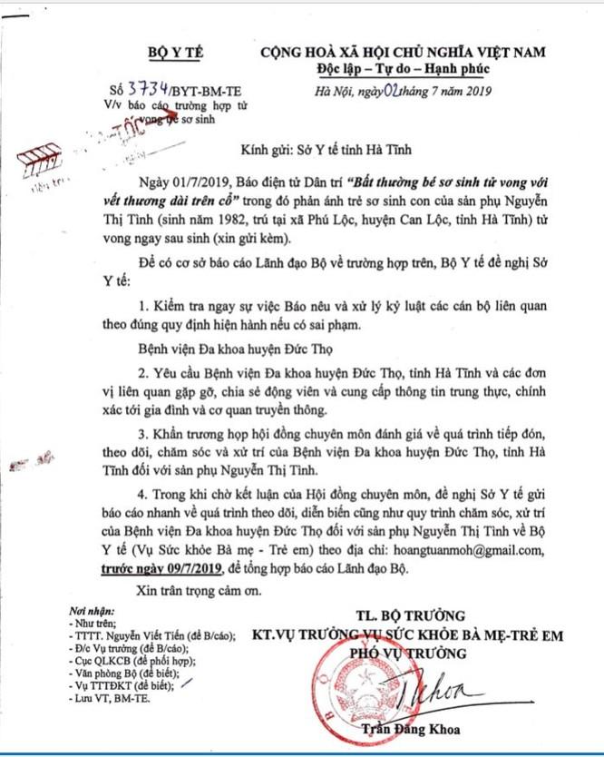 Công văn hỏa tốc của Bộ Y tế gửi Sở Y tế Hà Tĩnh hôm nay