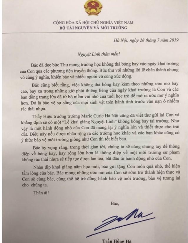 Bức thư của Bộ trưởng Bộ Tài Nguyên và Môi trường
