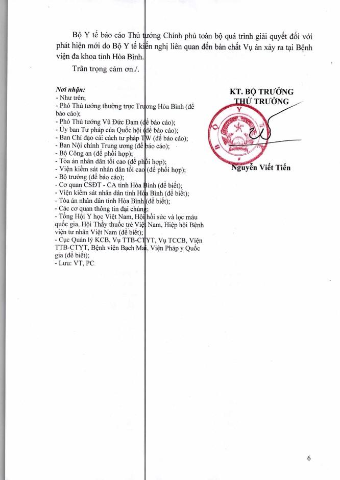 Thứ trưởng Bộ Y tế Nguyễn Viết Tiến ký văn bản báo cáo Thủ tướng Công văn Bộ Y tế báo cáo Thủ tướng Chính phủ về quá trình giải quyết tình tiết mới trong vụ án chạy thận tại Hòa Bình