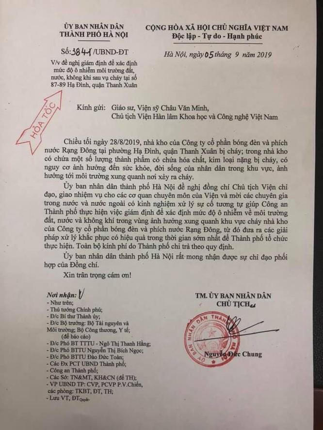Công văn của Hà Nội đề nghị Viện Hàn lâm KH&CN Việt Nam vào cuộc