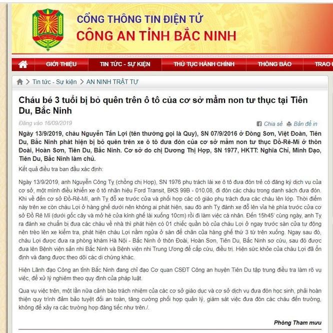 Thông tin chính thức của Công an tỉnh Bắc Ninh về vụ việc cháu bé 3 tuổi bị bỏ quên trên ô tô