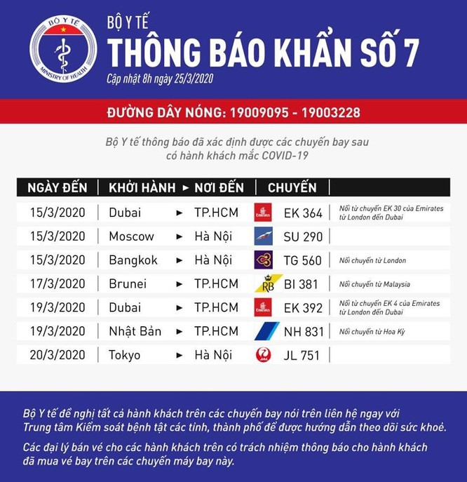 Thông báo khẩn số 7 bằng tiếng Việt và tiếng Anh.
