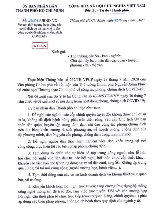 Văn bản chỉ đạo của UBND TP HCM