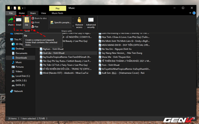 Ngoài ra, menu Share trong File Explorer còn cho phép người dùng có thể gửi nhanh dữ liệu qua Email hoặc nén lại với định dạng ZIP nếu muốn. Nói chung tùy thuộc vào định dạng tập tin mà File Explorer cung cấp cho bạn cách chia sẻ cho phù hợp.