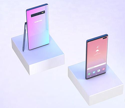 Galaxy Note 10 có thể sử dụng màu sắc Gradient đã được thử trước trên dòng Galaxy A. Ảnh: Phone Arena