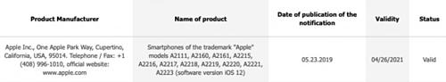 Có tới 11 phiên bản iPhone mang mã hiệu lạ vừa được đăng ký với EEC (Eurasian Economic Commission).