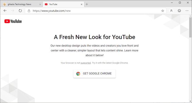 Google chặn không cho trình duyệt Edge mới của Microsoft truy cập thiết kế mới của YouTube ảnh 1
