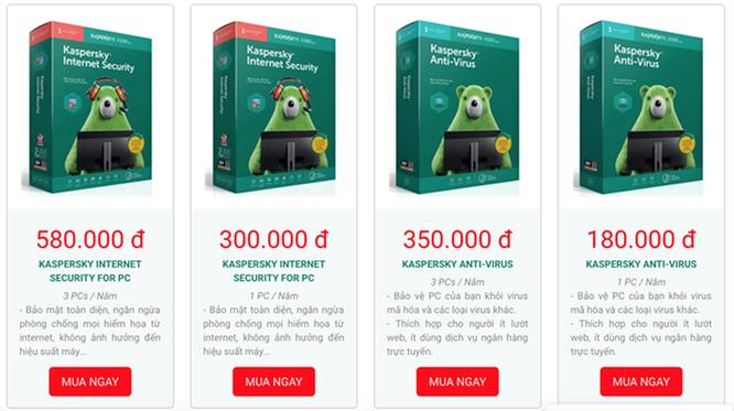 Giá bán chính thức của các sản phẩm Kaspersky tại thị trường Việt Nam