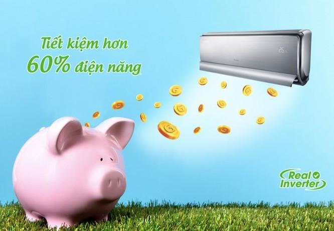 Nhờ được trang bị công nghệ biến tần Real Inverter, máy lạnh Gree có khả năng tiết kiệm hơn 60% điện năng.