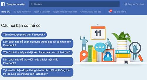 Trang Hỗ trợ người dùng của Facebook.