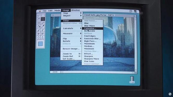 Dù không trang bị nhiều công cụ hiện đại như ngày nay, Photoshop phiên bản năm 1988 vẫn có một số tính năng cơ bản, quen thuộc như Blur, Sharpen, Hue, Saturation...