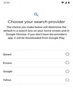 Một ví dụ về giao diện lựa chọn nhà cung cấp dịch vụ tìm kiếm trong tương lai, trên điện thoại Android.