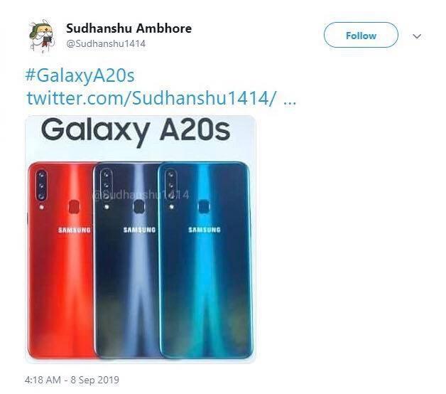 Rò rỉ thông số kỹ thuật Samsung Galaxy A20s với dung lượng pin 4000mAh ảnh 1
