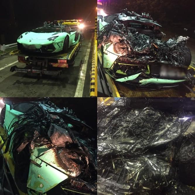 Chiếc Lamborghini Aventador lúc mới gặp nạn. (Ảnh: FBNV)