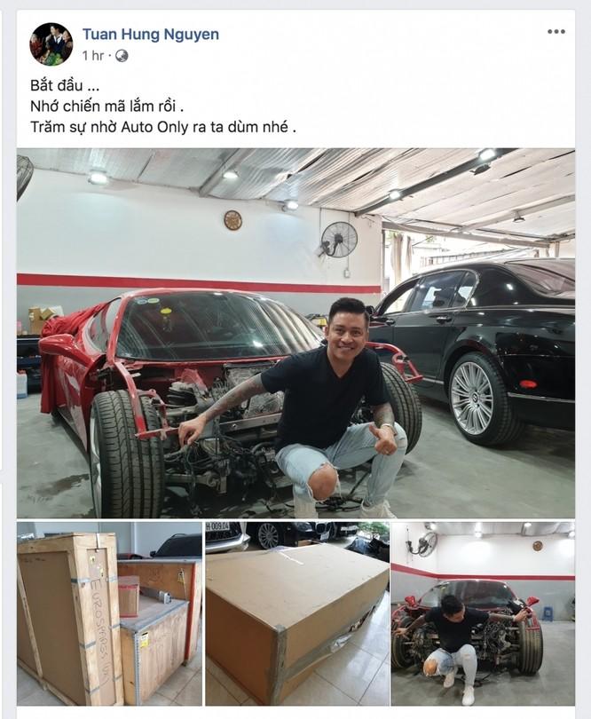 Ca sĩ Tuấn Hưng chia sẻ về việc sửa chữa siêu xe Ferrari 488 GTB (Ảnh: FBNV).