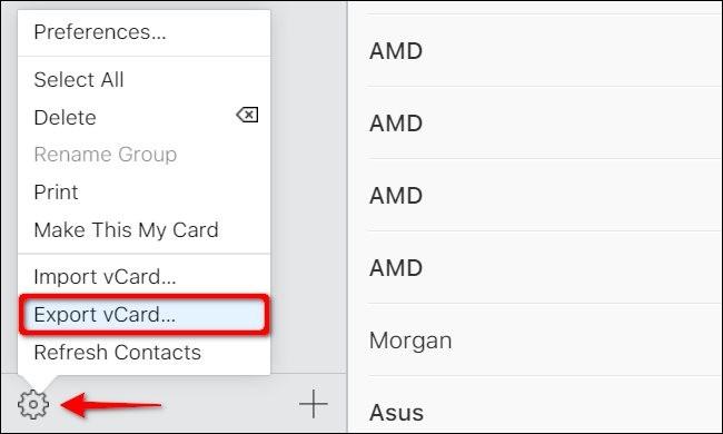 Trong màn hình vừa hiện lên, chọn 1 tên trong danh bạ. Nếu bạn chỉ muốn xuất 1 số điện thoại, click vào biểu tượng bánh răng ở góc dưới bên trái, và chọn Export vCard trong menu vừa hiện ra. Nếu bạn muốn chọn nhiều số điện thoại, click vào 1 cái tên trước. Sau đó, rê con trỏ chuột đến số điện thoại cuối cùng mà bạn muốn xuất, nhấn và giữ phím Shift, rồi click vào tên số điện thoại cuối cùng. Click vào biểu tượng bánh răng rồi chọn Export vCard.