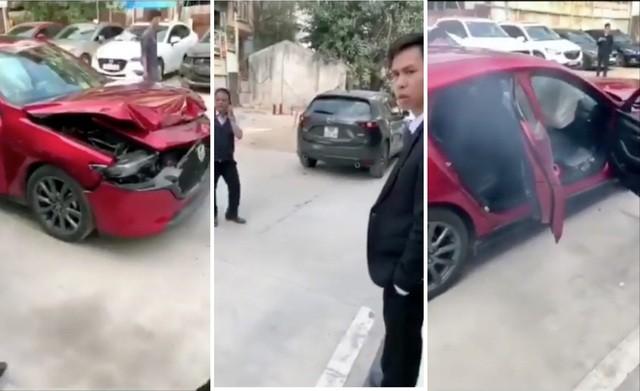 Hình ảnh trong clip được cho là hai chiếc Mazda3 và CX-5 tại một đại lý ở Hà Nội sau khi đâm nhau vào hôm 14/2