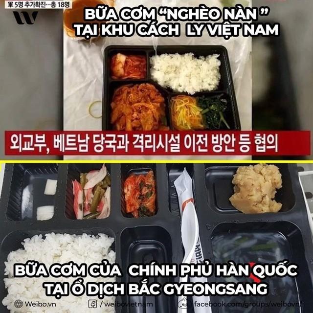 Một số cư dân mạng đã so sánh hình ảnh phần cơn do Việt Nam cung cấp với phần cơm tại khu cách ly ở Daegu.