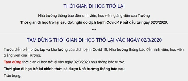ĐH Giao thông Vận tải TP.HCM thông báo tạm dừng đi học trở lại vào ngày 2/3.