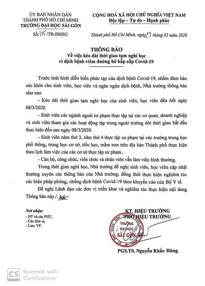 Trường ĐH Sài Gòn tiếp tục lùi lịch học cho sinh viên đến hết ngày 8/3.