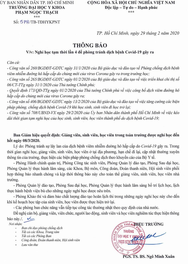 Thông báo nghỉ học lần 4 của Trường ĐH Y khoa Phạm Ngọc Thạch .