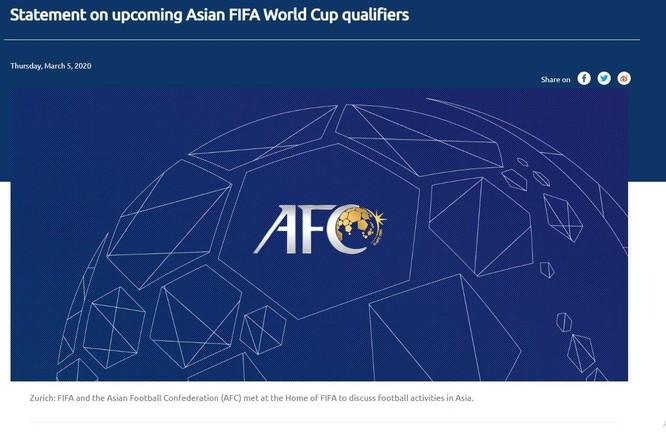 Thông báo của AFC về các trận đấu thuộc vòng loại World Cup 2022 khu vực châu Á
