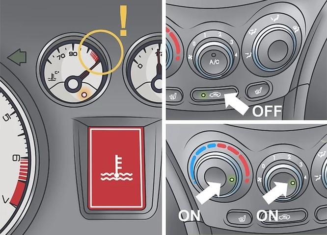 Đèn báo nhiệt độ động cơ quá nóng.