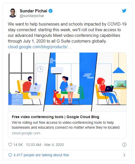 Google miễn phí ứng dụng hội họp online Hangouts Meet đến hết tháng 9/2020 ảnh 2