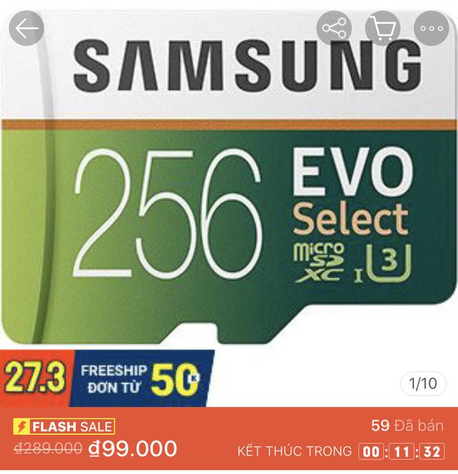 Một chiếc thẻ nhớ Samsung 256GB được Shopee Flash sale, thu hút được hàng chục lượt mua chỉ trong vòng chưa đầy 2 tiếng.