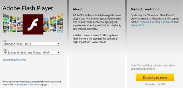 Bước 2: Tại giao diện trang chủ, nhấn chọn Install Now. Hệ thống sẽ tự tải bộ cài đặt Adobe Flash Player về máy và click đúp vào bộ cài này. Sau khi giao diện cài đặt xuất hiện, nhấn vào Install Adobe Flash Palyer.