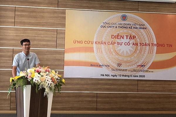 Ông Phạm Quang Tuyến, Phó Cục trưởng Cục CNTT và Thống kê Hải quan, Bộ Tài chính phát biểu khai mạc chương trình diễn tập an toàn thông tin ngành Hải quan năm 2020.